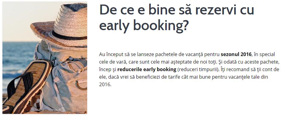 Vacanțe cu Early Booking