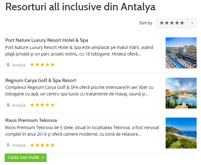 hoteluri resorturi all inclusive antalya